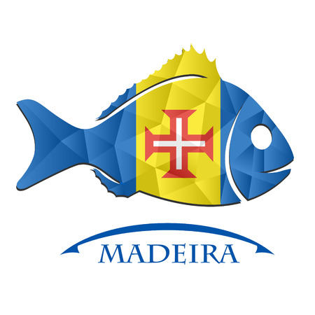 fish logo made from the flag of Madeira. Illustration