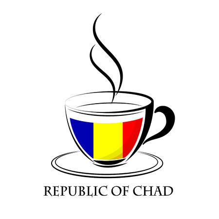 coffee logo made from the flag of Republic of Chad Illustration