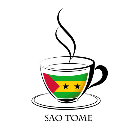 coffee logo made from the flag of Sao Tome Illustration
