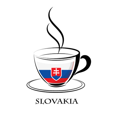 coffee logo made from the flag of Slovakia