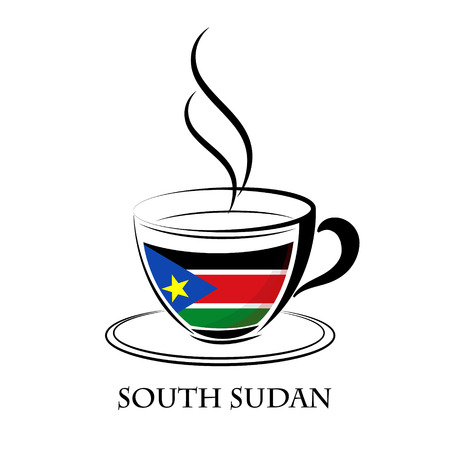 south sudan: coffee logo made from the flag of  South Sudan
