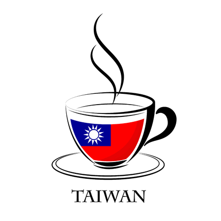 coffee logo made from the flag of Taiwan