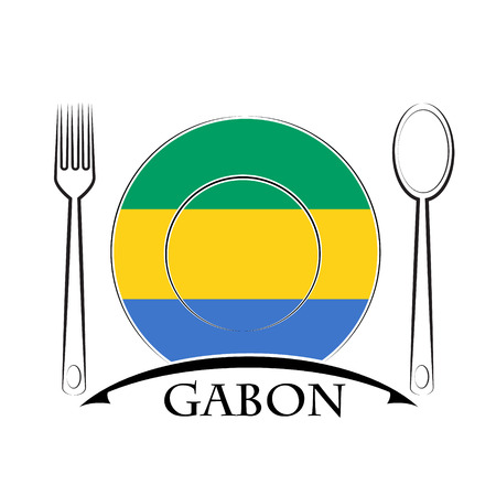 country kitchen: Food  logo made from the flag of Gabon