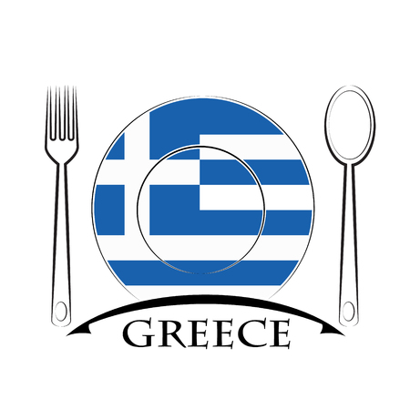 Food  logo made from the flag of Greece Illustration