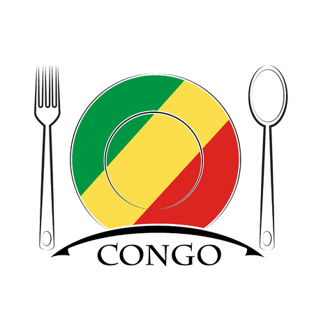 country kitchen: Food  logo made from the flag of Congo