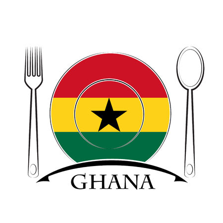 country kitchen: Food  logo made from the flag of Ghana