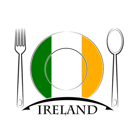 country kitchen: Food  logo made from the flag of Ireland