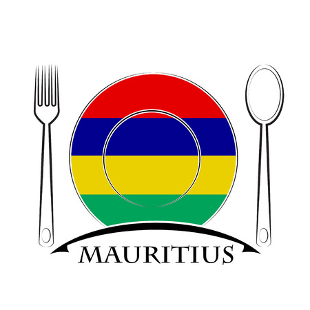 country kitchen: Food logo made from the flag of Mauritius