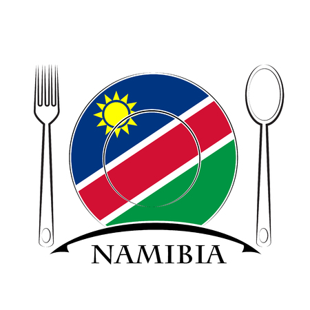 country kitchen: Food logo made from the flag of Namibia