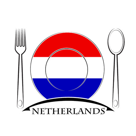 Food logo made from the flag of Netherlands Illustration