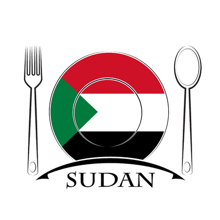 country kitchen: Food  logo made from the flag of Sudan