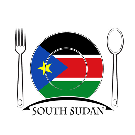 south sudan: Food  logo made from the flag of South Sudan