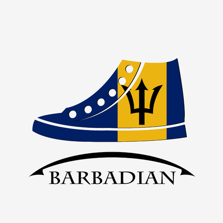 shoes icon made from the flag of Barbadian Illustration