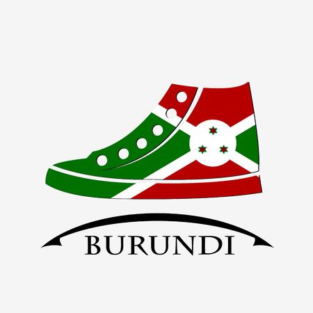 burundi: shoes icon made from the flag of burundi