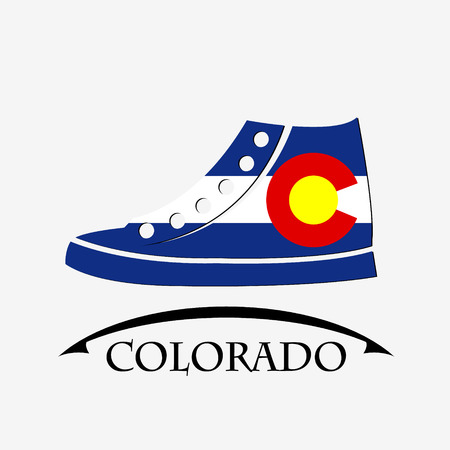shoes icon made from the flag of Colorado