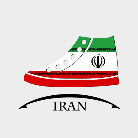 footwear: shoes icon made from the flag of Iran Illustration