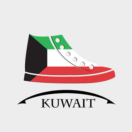 shoes icon made from the flag of Kuwait Illustration