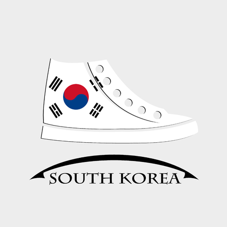 shoes icon made from the flag of South Korea Çizim