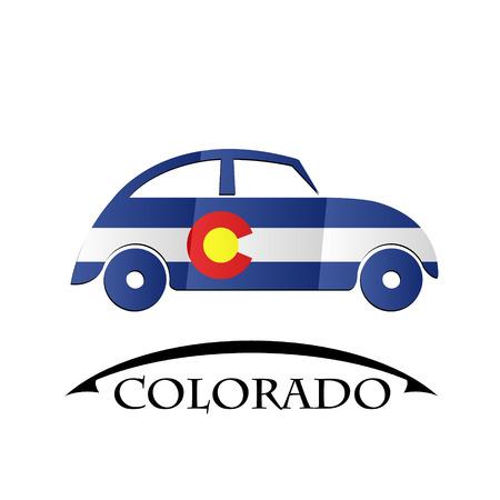 flag of colorado: car icon made from the flag of Colorado