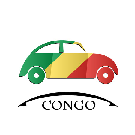 car icon made from the flag of Congo Illustration