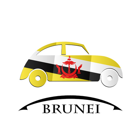 car icon made from the flag of brunei