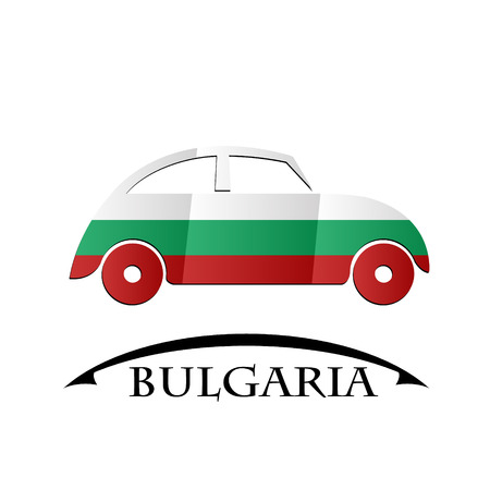 car icon made from the flag of Bulgaria Illustration