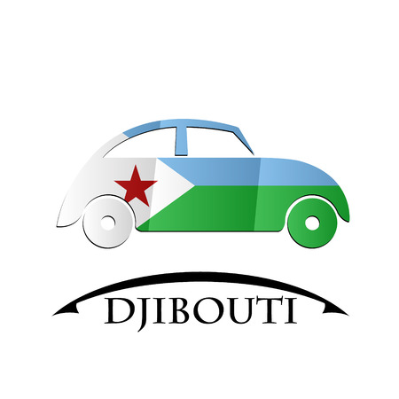 car icon made from the flag of Djibouti