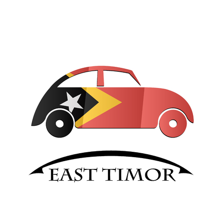 timor: car icon made from the flag of East Timor Illustration