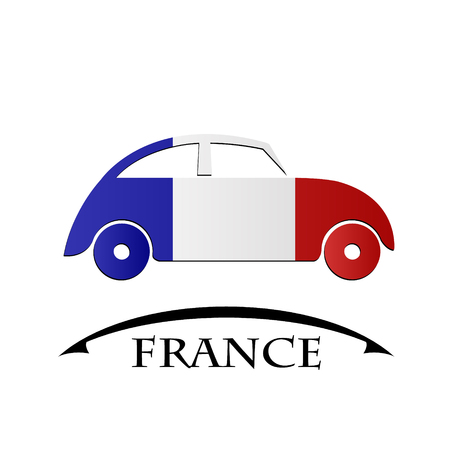 car icon made from the flag of France