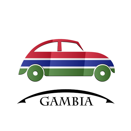 gambia: car icon made from the flag of Gambia Illustration