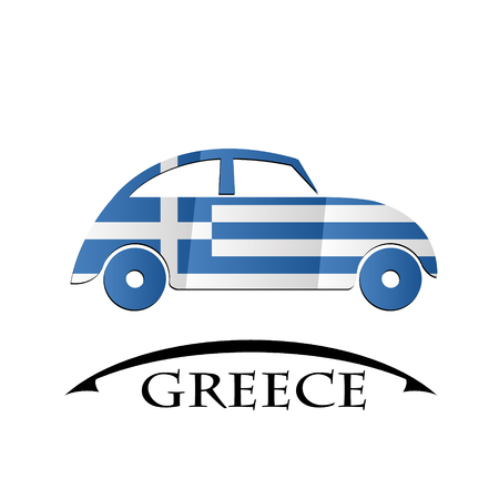 car icon made from the flag of Greece