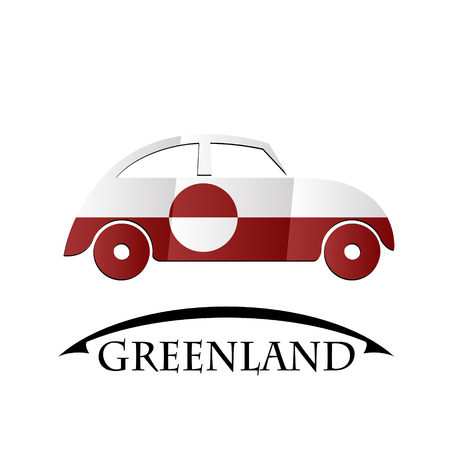 car icon made from the flag of Greenland Illustration