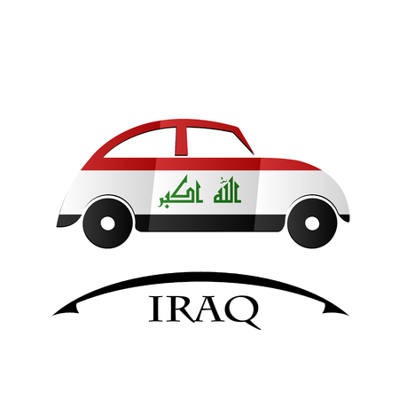 car icon made from the flag of Iraq