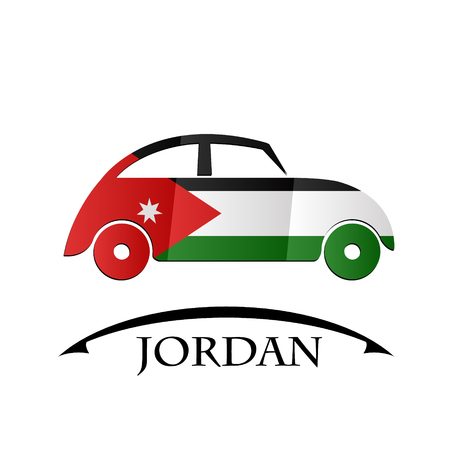 car icon made from the flag of Jordan