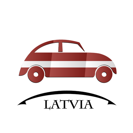 car icon made from the flag of Latvia