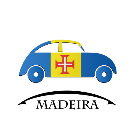 car icon made from the flag of Madeira