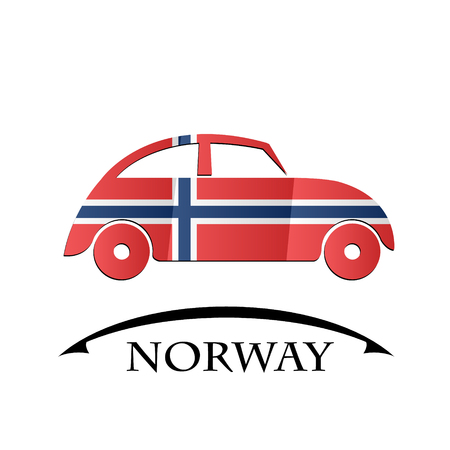 norway flag: car icon made from the flag of Norway