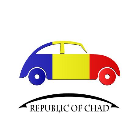 icona macchina fatta dalla bandiera della Repubblica del Ciad