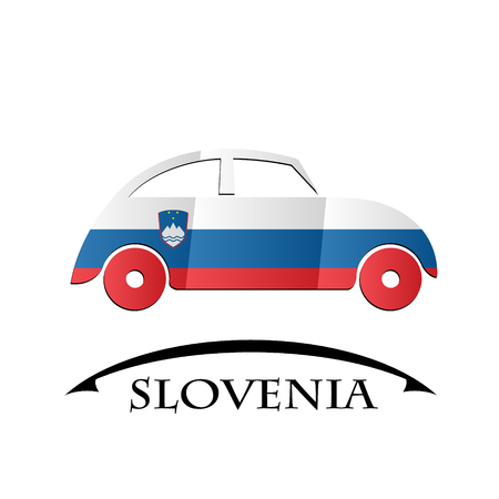 car icon made from the flag of Slovenia Illustration