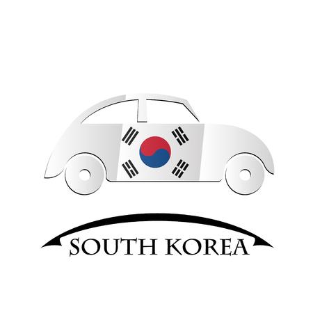 korea flag: car icon made from the flag of South Korea
