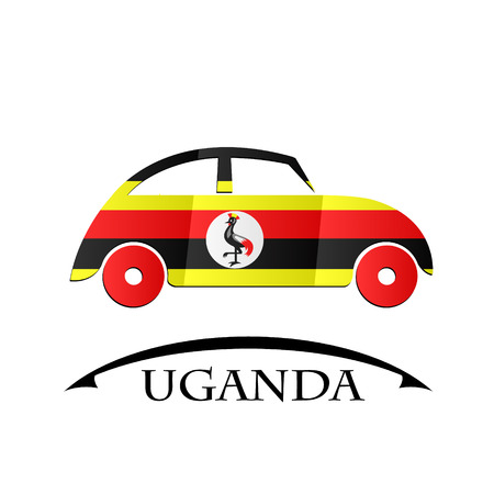 car icon made from the flag of Uganda