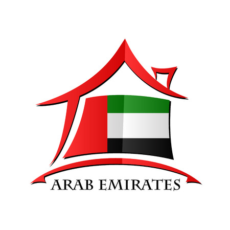 House icon made from the flag of Arab Emirates Ilustração