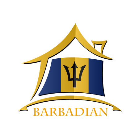 House icon made from the flag of Barbadian Illustration