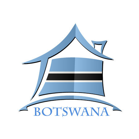 House icon made from the flag of Botswana