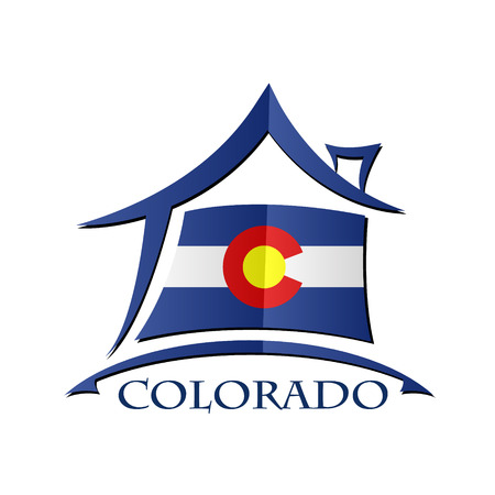 House icon made from the flag of Colorado Illustration