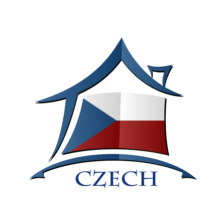 House icon made from the flag of Czech