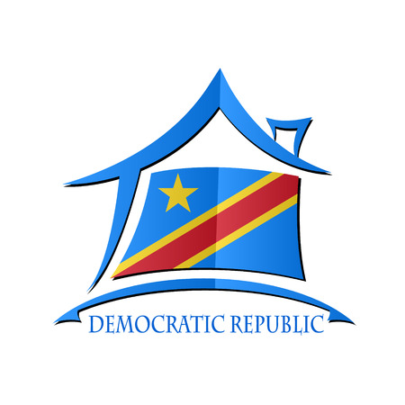democratic: House icon made from the flag of Democratic Republic