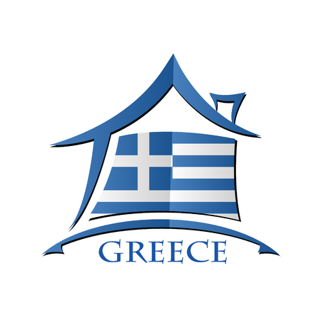 House icon made from the flag of Greece