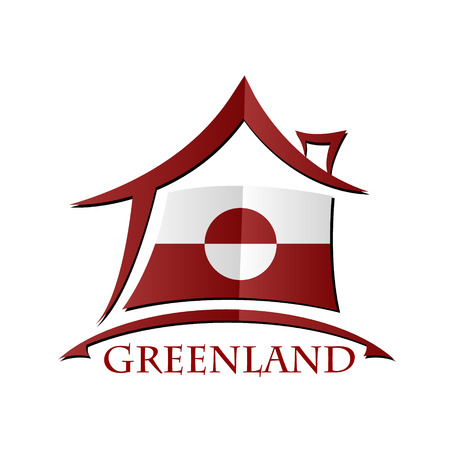 House icon made from the flag of Greenland