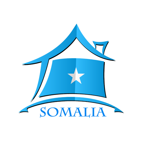 House icon made from the flag of Somalia Illustration